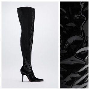 NWOT. Zara High Shaft Heeled Boots. Size 9